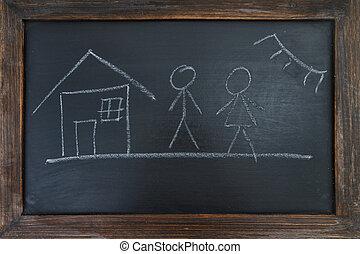 peint, maison, famille, craie, noir, soleil, board.