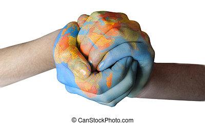 peint, mondiale, mains