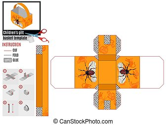 peint, panier, papier, araignés, orange