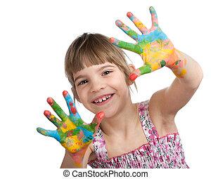 peint, petite fille, elle, mains