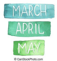 peint, printemps, mois, main, aquarelle, tablettes