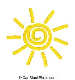 peint, soleil, vecteur, -, illustration