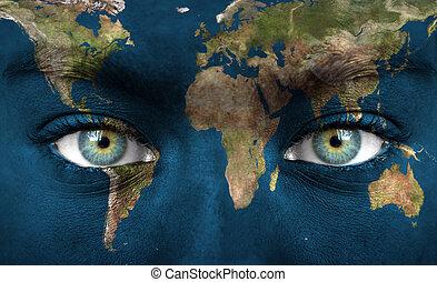 peint, terre planète, visage humain
