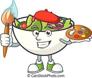 peintre, bol, salade, mascotte