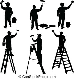 peintres, divers, ouvriers, silhouette