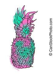 peinture, été, coloré, illustration, ananas