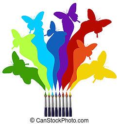 peinture, arc-en-ciel, papillons, coloré, brosses