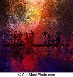 peinture, asie, paysage, textured