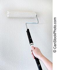 peinture bâtiments, manteau, maison, frais, mur, peinture