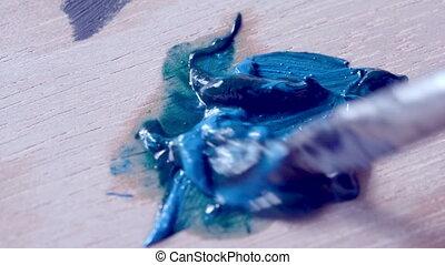 peinture bleue, enduire, brosse, surface