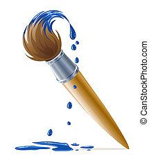 peinture bleue, peinture, égouttement, brosse