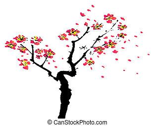 peinture, chinois, sakura