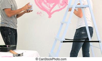 peinture, couple, ensemble, beau