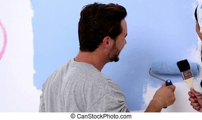 peinture, couple, jeune