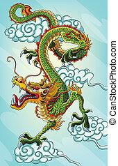 peinture, dragon chinois