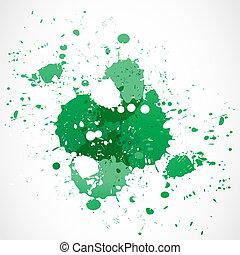 peinture eclabousse, conception, vert