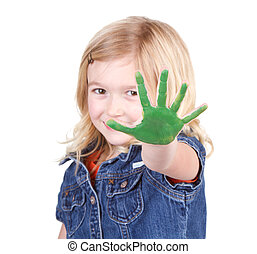 peinture, enfant, vert, elle, main