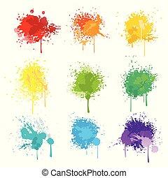 peinture, isolé, splat, blanc, vecteur, fond