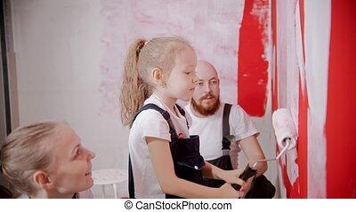 peinture, maman, sien, correctement, comment, fille, enseignement, papa, peu, murs