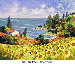 peinture, mer, paysage