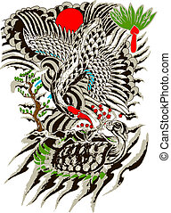 peinture, oriental, arbre, oiseau