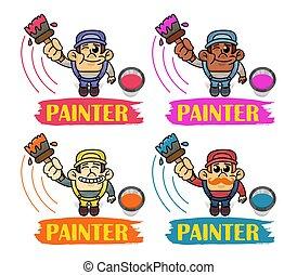 peinture, perspective., interracial, peintres, service., rigolote, main., uniform., ouvrier, vecteur, vue, rouleau, sommet, client, tenue, homme, ensemble