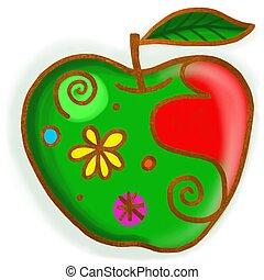 peinture, pomme verte, griffonnage