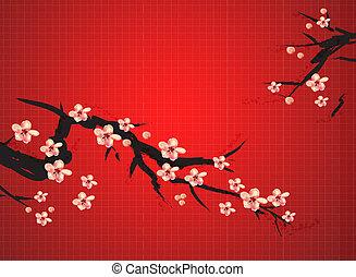 peinture, prune, chinois