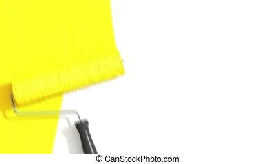 peinture, rouleau, jaune, color.