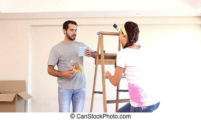 peinture, séduisant, couple