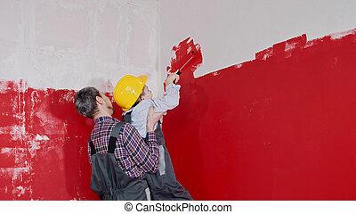 peinture, sien, aides, garçon, -, peu, mur, murs, fils, peinture, père, supérieur