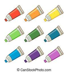 peinture, tubes, coloré