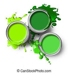 peinture, vert, boîtes, eclabousse