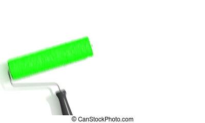 peinture, vert, rouleau, color.