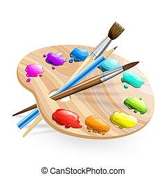 peintures, brosses, wirh, art, palette, crayon