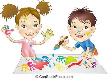 peintures, jouer, enfants, jeune, deux