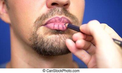 peintures, sien, close-up., barbu, lips., homme
