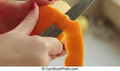 peler, frais, smoothie, peler, orange, faire