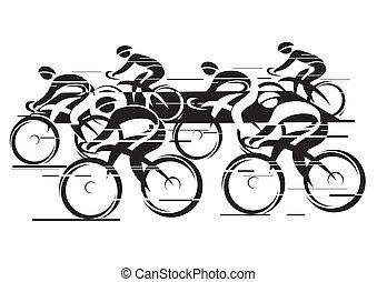 peleton, course, cycle
