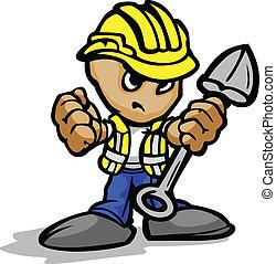 pelle, image, ouvrier, figure, vecteur, hardhat, construction, déterminé, dessin animé