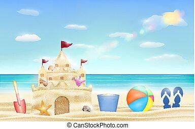 pelle, seau, sable, balle, mer, plage château