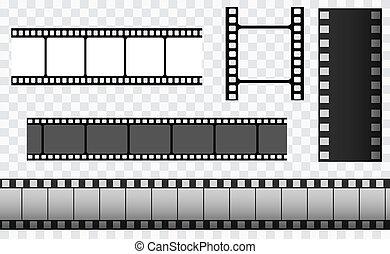 pellicule, 35mm, cadre, diapo, bande, média, rouleau, bande, cinéma, négatif, templates., filmstrip., vecteur