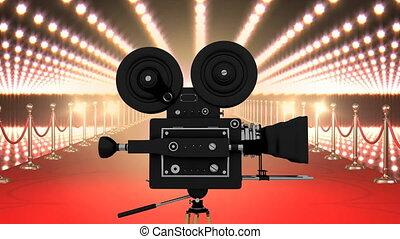 pellicule, clignotant, appareil photo, moquette, lumières, rouges, film