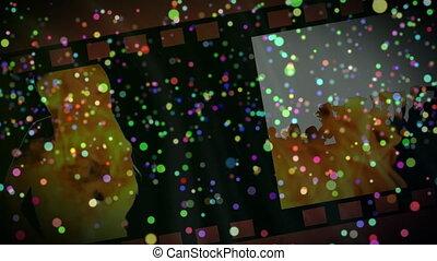 pellicule, lumière, gens, taches, contre, danse, bobine, silhouette