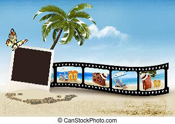 pellicule, plage., bande, vacances, vector.