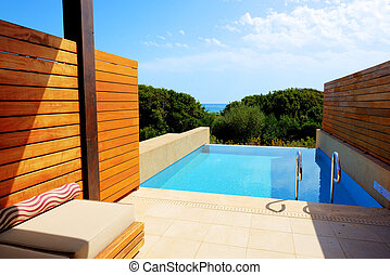 peloponnes, villa, luxe, mer, grèce, vue, piscine, natation