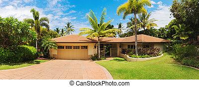 pelouse, allée, extérieur, vue frontale, maison, luxe