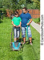 pelouse, fils, père, fauchage