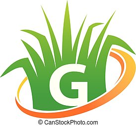pelouse, initiale, centre, g, soin