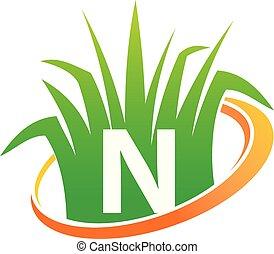 pelouse, initiale, centre, soin, n